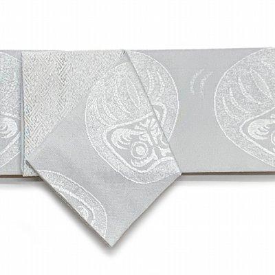 画像3: メンズ 角帯 男性用 粋な絵柄の帯 着物や浴衣に 結び方のしおり付き【白銀系、だるま】
