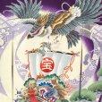 画像3: お宮参りの着物 初着 産着 男の子 上質国産生地 洗えるお祝い着(合繊)【紫、鷹に宝船】