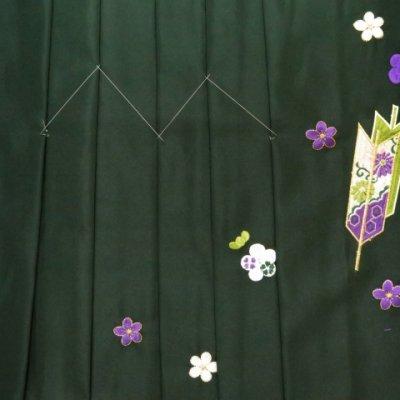 画像3: 卒業式 袴 女性用 刺繍入りぼかし袴【濃淡緑、矢羽根・梅】[S/M/L/2Lサイズ]