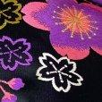 画像11: 七五三 正絹 結び帯 箱せこセット 7歳 女の子 作り帯 筥迫(はこせこ) ペアセット 日本製【黒地、紫桜】
