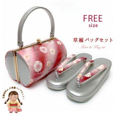 画像1: 草履バッグセット 振袖用 レディース フリーサイズの草履 約24cm【赤系ぼかしx銀、桜】