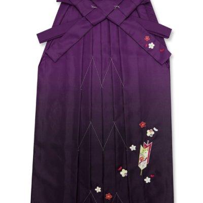 画像2: 卒業式 小学生向け ジュニアサイズの女の子用刺繍入りぼかし袴(140サイズ)【紫、矢絣と梅】