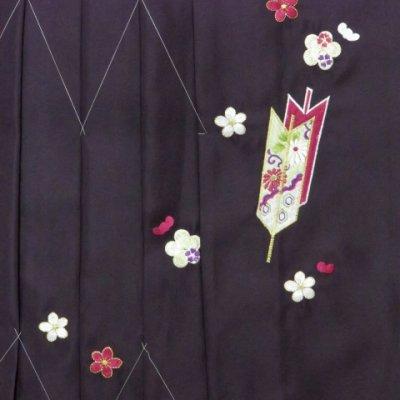 画像3: 卒業式 小学生向け ジュニアサイズの女の子用刺繍入りぼかし袴(140サイズ)【紫、矢絣と梅】
