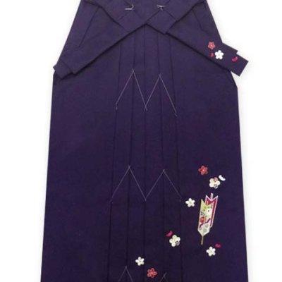 画像2: 卒業式 小学生向け ジュニアサイズの女の子用刺繍入り袴(140サイズ)【紫、矢絣と梅】