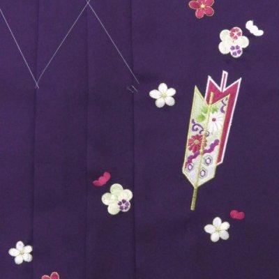 画像3: 卒業式 小学生向け ジュニアサイズの女の子用刺繍入り袴(140サイズ)【紫、矢絣と梅】