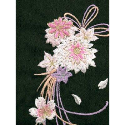 画像4: 卒業式 小学生 ジュニア向け 刺繍入りぼかし袴 78cm(135サイズ)【緑系、花に水引】