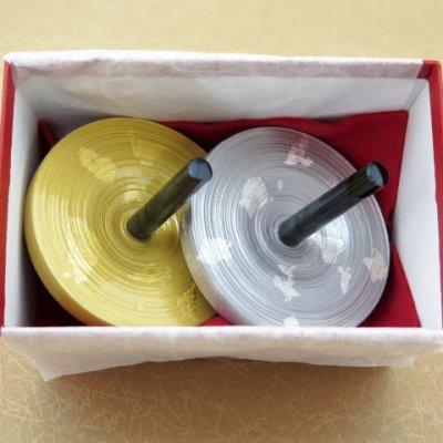 画像5: お正月の飾りに 京都の伝統工芸 匠の手作り*京こま*大(箱入り)【金銀】2個セット