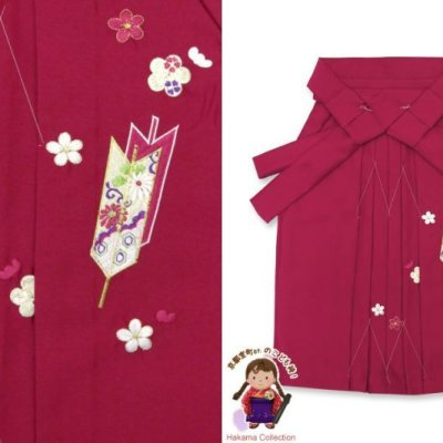 画像1: 卒園式 入学式 七五三 に 3歳女の子用 刺繍入りの子供袴【ローズ、矢絣と梅】 紐下丈55cm(100サイズ)