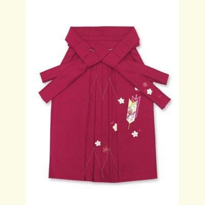 画像2: 卒園式 入学式 七五三 に 3歳女の子用 刺繍入りの子供袴【ローズ、矢絣と梅】 紐下丈55cm(100サイズ)