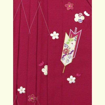 画像4: 卒園式 入学式 七五三 に 3歳女の子用 刺繍入りの子供袴【ローズ、矢絣と梅】 紐下丈55cm(100サイズ)