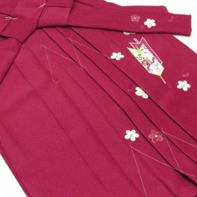 画像5: 卒園式 入学式 七五三 に 3歳女の子用 刺繍入りの子供袴【ローズ、矢絣と梅】 紐下丈55cm(100サイズ)