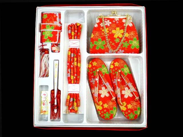 画像3: 七五三 金華 七歳用 結び帯(大寸)と箱セコペアセット【赤】