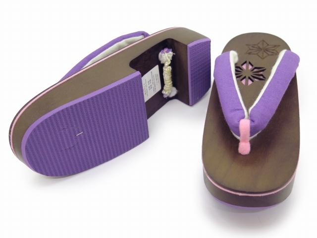 画像4: レディース 浴衣 下駄 透かし彫り 桐下駄 LLサイズ【紫】