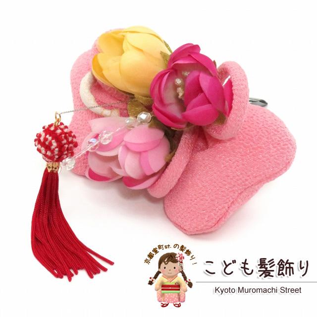 画像1: 七五三 卒園式・入学式に 子供用 ちりめん生地の髪飾り 【ピンク リボン】