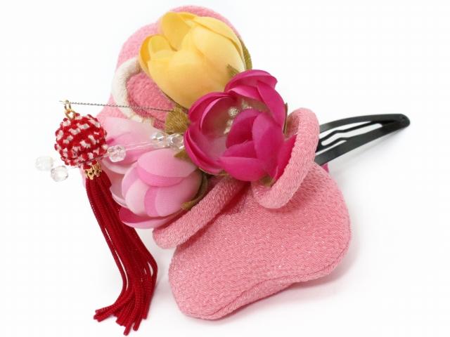 画像2: 七五三 卒園式・入学式に 子供用 ちりめん生地の髪飾り 【ピンク リボン】