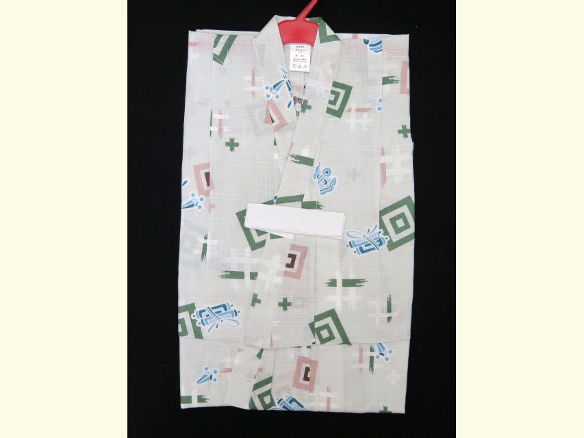 画像2: 子供浴衣  変り織り 男の子浴衣 100サイズ【淡鼠色、宝尽くし】