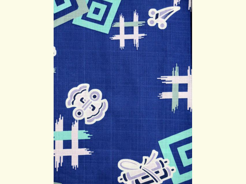 画像3: 子供浴衣 変り織り 男の子浴衣 100サイズ【群青、宝尽くし】