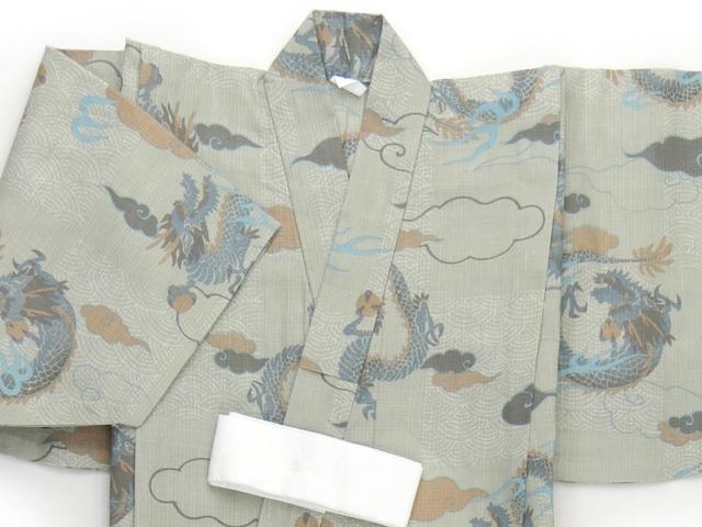 画像2: 子供浴衣 男の子用 変り織り こども浴衣 110サイズ【サンドベージュ、龍】