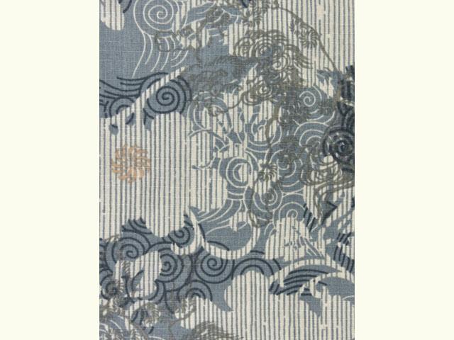 画像4: 子供浴衣 男の子用 変り織り こども浴衣 110サイズ【青鼠系、唐獅子】