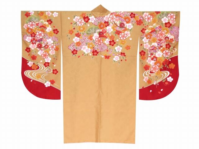 画像2: 卒業式の袴セット 絵羽柄短尺 二尺袖着物(小振袖)【伽羅色、花手鞠と貝桶】と無地袴「黒」のセット
