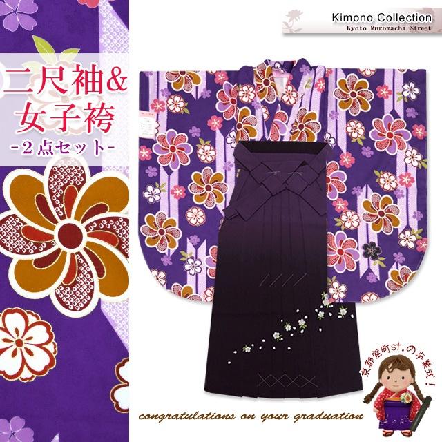 画像1: 卒業式 袴セット 古典柄の小振袖(二尺袖の着物)【紫、矢羽根と花】と刺繍ぼかし袴「紫系」