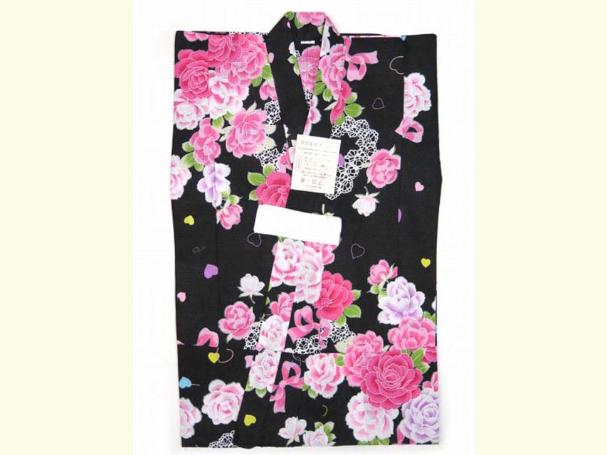 画像2: 子供浴衣 女の子 変り織り浴衣(110サイズ)【黒地、ハートと薔薇・リボン】