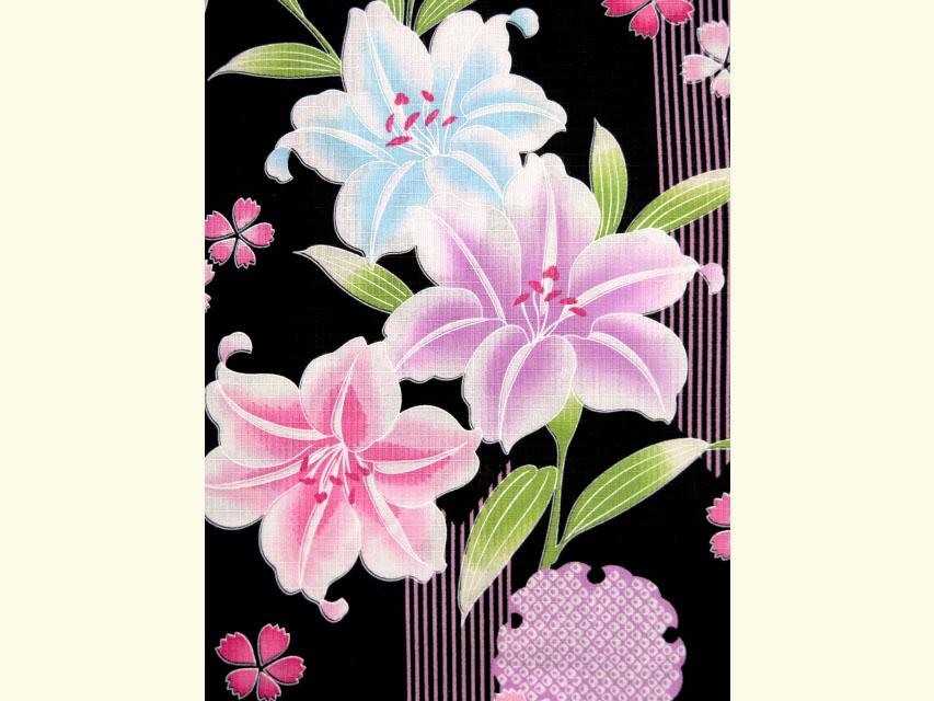 画像3: 子供浴衣 女の子 変り織り浴衣(110サイズ)【黒地、百合と雪輪】