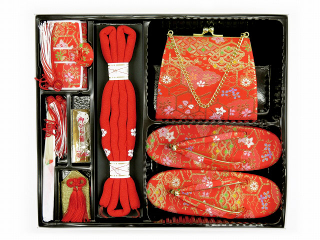 画像3: 七五三 7歳女の子用 金襴 結び帯(大寸)と箱セコペアセット【赤】