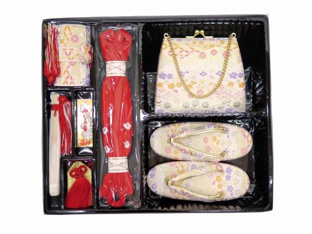 画像2: 七五三 3歳女の子用 金襴 結び帯&箱せこペアセット(小寸)【白系】