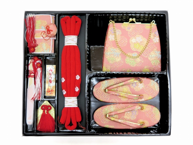 画像2: 七五三 3歳女の子用 金襴 結び帯&箱せこペアセット(小寸)【ピンク】