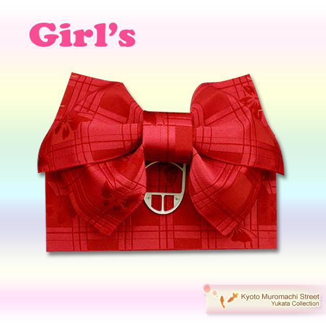 画像1: 子供浴衣帯 女の子用作り帯(結び帯)【赤、アゲハ蝶】