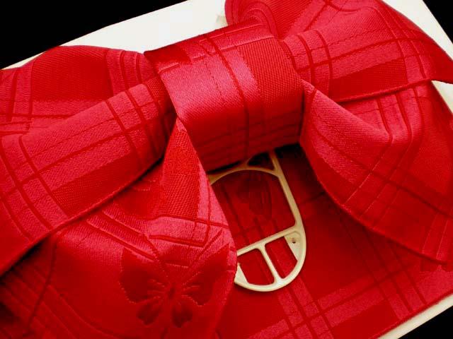 画像3: 子供浴衣帯 女の子用作り帯(結び帯)【赤、アゲハ蝶】