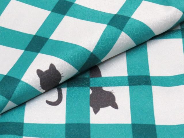 画像4: ネコ柄の洗える着物 袷 小紋 Lサイズ お仕立て上がり【グレー系×青緑 猫に格子 】
