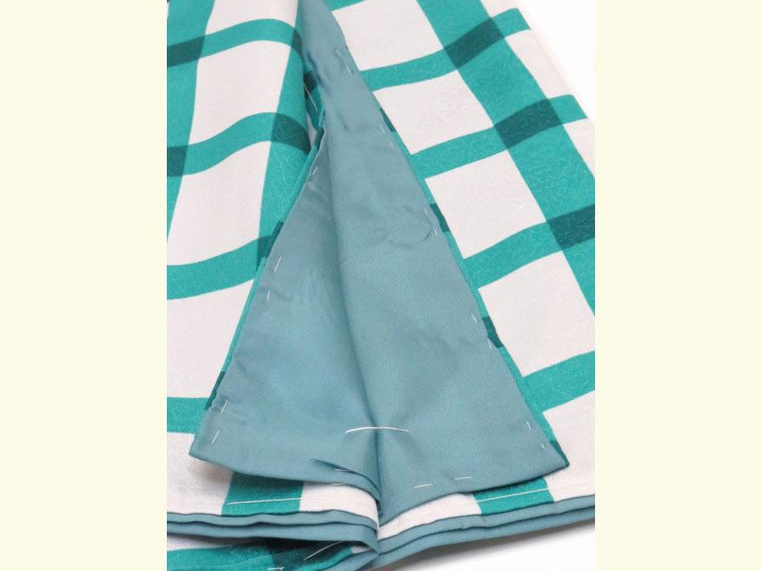 画像5: ネコ柄の洗える着物 袷 小紋 Lサイズ お仕立て上がり【グレー系×青緑 猫に格子 】