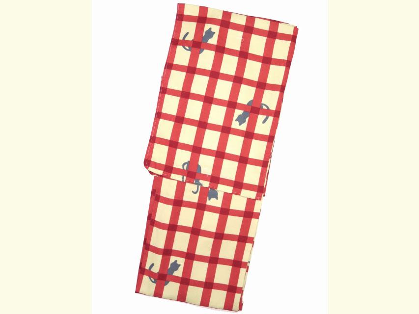 画像2: 洗える着物 袷 小紋 Mサイズ 単品【黄緑×赤 猫に格子】