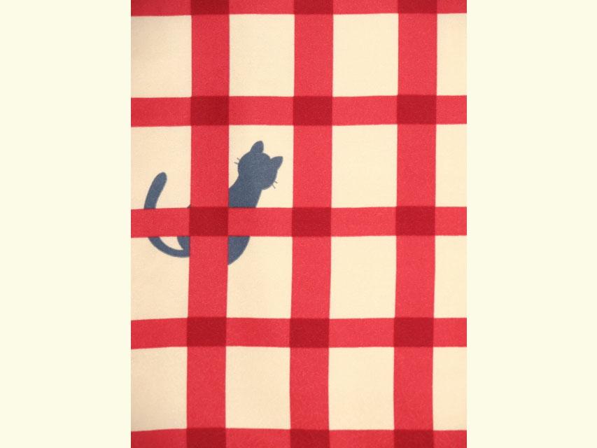 画像3: 洗える着物 袷 小紋 Mサイズ 単品【黄緑×赤 猫に格子】