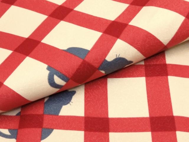 画像4: 洗える着物 袷 小紋 Mサイズ 単品【黄緑×赤 猫に格子】