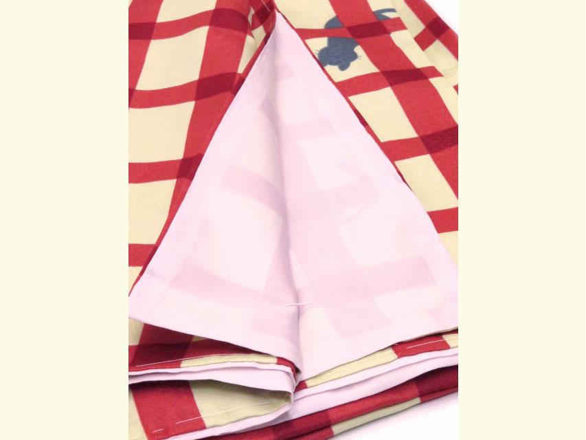 画像5: 洗える着物 袷 小紋 Mサイズ 単品【黄緑×赤 猫に格子】
