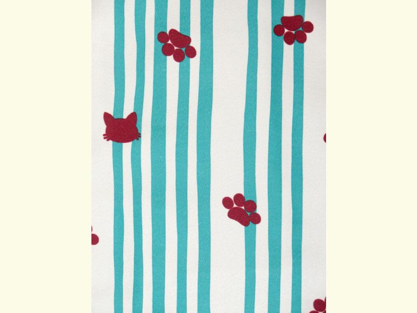 画像3: 洗える着物 袷 小紋 Mサイズ 単品【グレー系×青緑 猫にストライプ 】