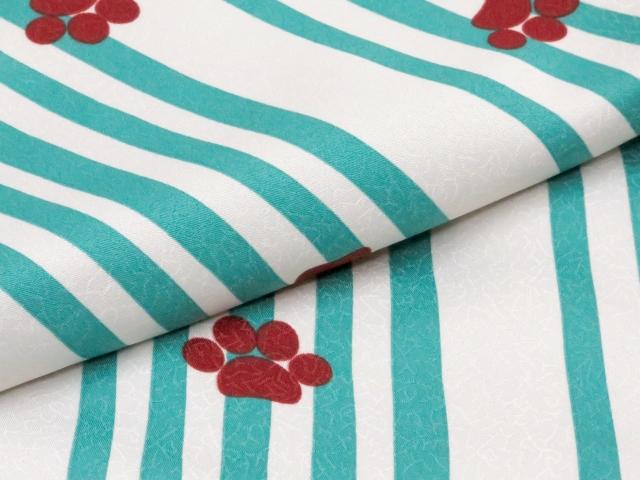 画像4: 洗える着物 袷 小紋 Mサイズ 単品【グレー系×青緑 猫にストライプ 】