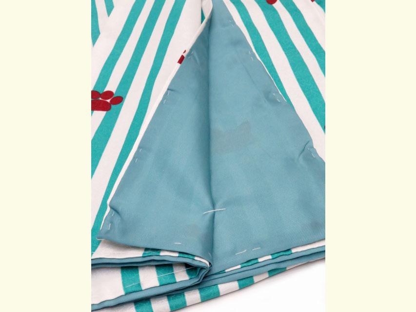 画像5: 洗える着物 袷 小紋 Mサイズ 単品【グレー系×青緑 猫にストライプ 】