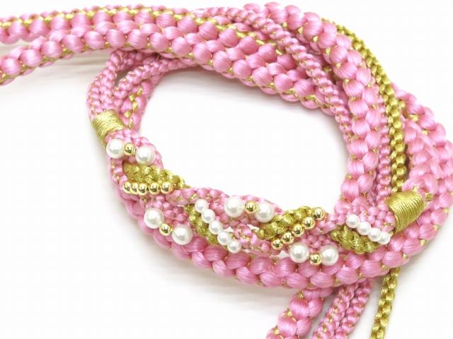 画像2: 成人式などに 振袖用 帯締め 手組紐の帯締め 正絹 単品【ピンク】