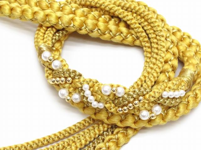 画像2: 成人式などに 振袖用 帯締め 手組紐の帯締め 正絹 単品【黄色】