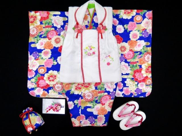 画像3: 七五三 着物  3歳 女の子 被布コート6点セット(正絹)【白&群青、桜と霞】