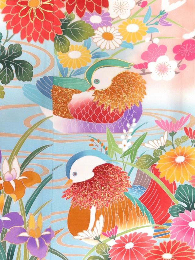 画像3: 七五三 7歳女の子用正絹の着物フルセット 手描き友禅 絵羽柄の子供着物 セット【桃肌色×水色 おしどり】