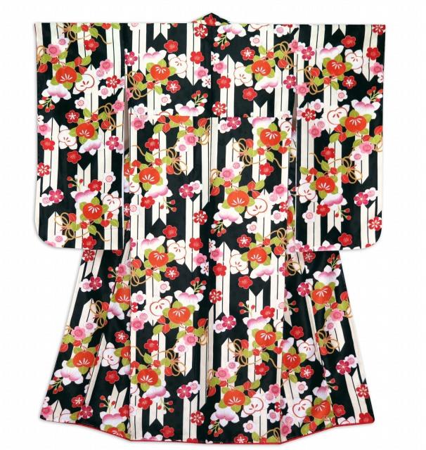 画像3: 小学校の卒業式に ジュニア女子用振袖と袴セット(合繊)【黒地、矢羽と橘】
