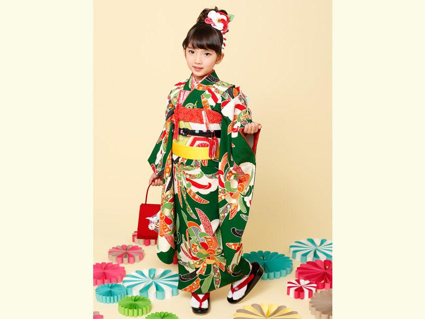 """画像2: 七五三 着物 ブランド""""紅一点"""" 正絹の子供着物フルセット【緑 古典菊】"""