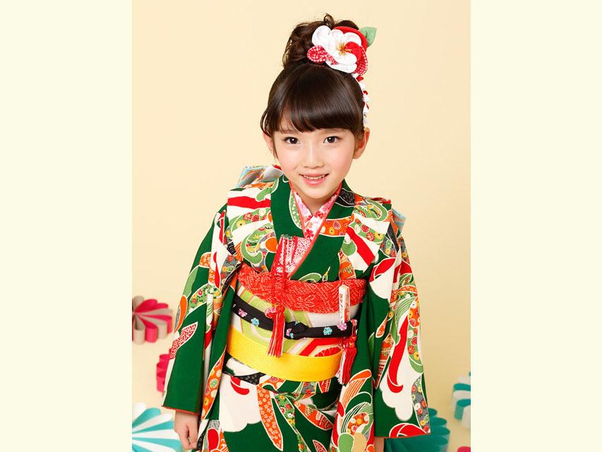 """画像3: 七五三 着物 ブランド""""紅一点"""" 正絹の子供着物フルセット【緑 古典菊】"""