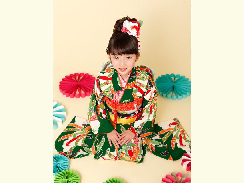"""画像4: 七五三 着物 ブランド""""紅一点"""" 正絹の子供着物フルセット【緑 古典菊】"""