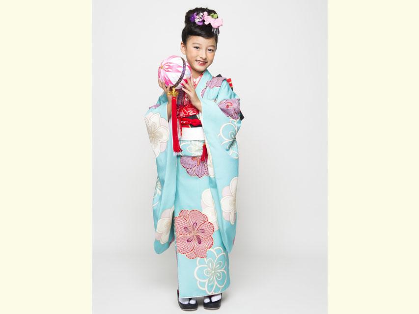 """画像3: 七五三 着物 ブランド""""紅一点"""" 正絹の子供着物フルセット【水色 古典桜】"""